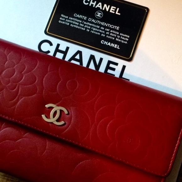 4f6311b463c1 CHANEL Handbags - CHANEL Camellia Embossed Lambskin Long Wallet Red